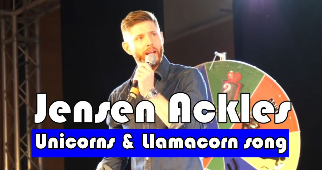 Jensen Ackles at JIB10, fun panel with unicorns and the llamacorn song in the background